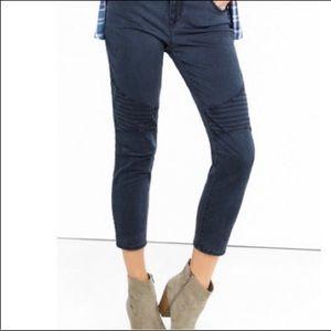 Express Dark Gray Moto Mid Rise Crop Jeans